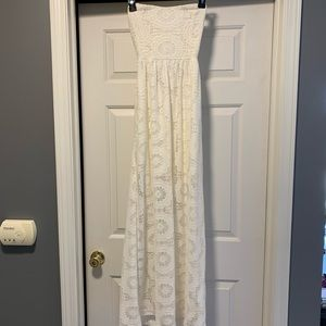 Windsor Strapless White Lace Dress